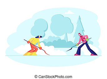 shovel., yard, plat, santa, clairière, snow., homme, dessin animé, congère, snowfall., maison, rouges, étapes, girl, enlever, vecteur, arrière-cour, voisins, gens, neige, propre, heureux, claus, après, illustration, chapeau