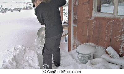 Shoveling Snow Off Deck Blizzard