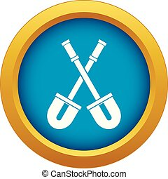 Shovels icon blue vector isolated