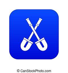 Shovels icon digital blue