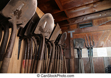 Shovels inside garden shed - Gardening tools inside garden...