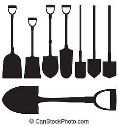 Shovels vector silhouettes set - Shovels and spades in...
