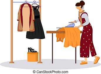 show., ファッション, assistant., illustration., 平ら, 衣服, 衣類の色, 白, アイロンをかけること, 服, デザイナー, 背景, 特徴, 漫画, 清掃, 乾きなさい, 隔離された, ジャケット, 準備, ベクトル, サービス