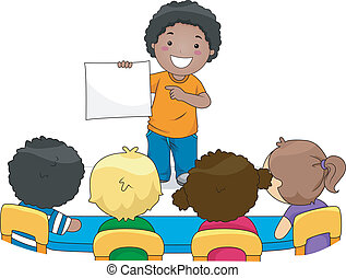 Illustration of a Kid Presenting Something to His Classmates
