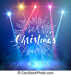 Show background. Merry Christmas Brush Script Style Hand lettering. Smoky stage interior shining with light from a projector