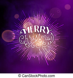 Show background. Merry Christmas Brush Script Style Hand lettering. Smoky vector stage interior shining with light from a projector
