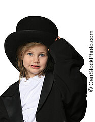 Show business child - Cute little girl dressed up in an...