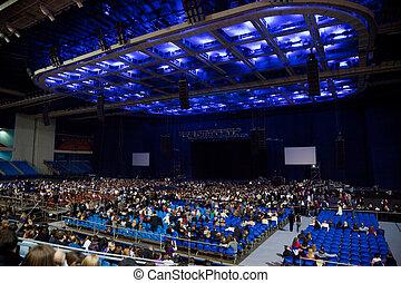 show., concierto, gente, toma, seats., rendimiento, antes, etapa vacía