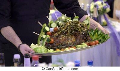 Show dish - lamb meat at restaurant