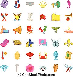 Show icons set, cartoon style