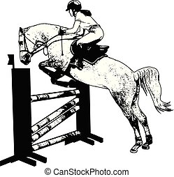 show., jockey, cheval, illustration, sauter, obstacle, croquis