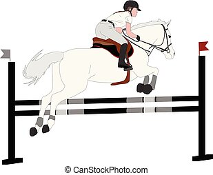 show., jockey, couleur, cheval, illustration, sauter, obstacle