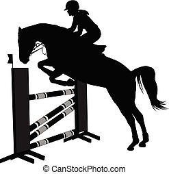 show., jockey, silhouette, sauter cheval, obstacle