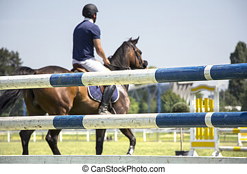 A rider on horseback competing in show jumping tournament