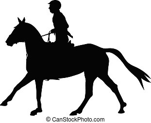 show jumping dressage woman on horse black silhouette