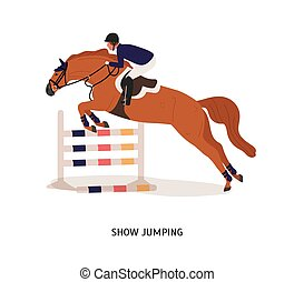Show jumping flat vector illustration. Horse rider, athlete cartoon character. Equestrian show, horseback riding competition concept. Equine jumping over barrier isolated on white background