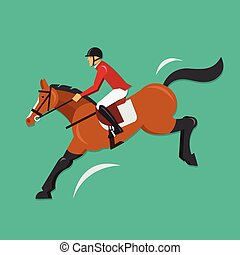Show Jumping Horse with jockey