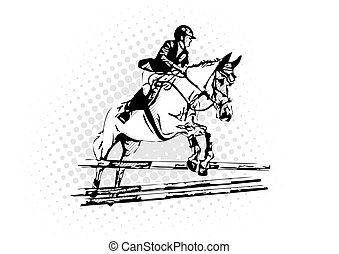 show jumping vector illustration