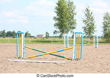 Show jumping vertical barrier at the training field - Show...