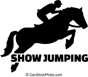 Show jumping with horse silhouette