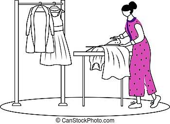 show., mode, contour, illustration., dessin, plat, arrière-plan., aide, vêtements, blanc, simple, repassage, robes, concepteur, caractère, dessin animé, nettoyage, sec, contour, vestes, préparer, vecteur, isolé