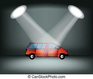 show., palcoscenico, auto, automobile, illustrazione, vettore, illuminazione, podio, exhibition., automobile., rosso