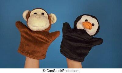 show., pojęcie, małpa, błękitny, marionetka, tło., szczelnie...