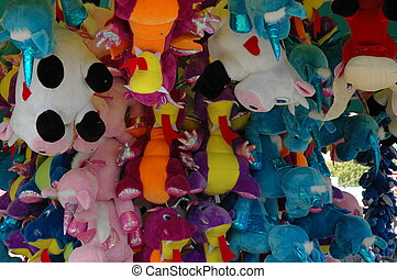 Show Time 1 - Closeup of show/carnival prizes - bright and...