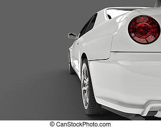 Show white urban sports car - taillight closeup shot