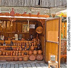 Show-window with ceramic souvenirs in the market in Tbilisi, Georgia