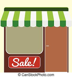 Showcase and entrance to the shop, can be used in web and advertising, vector illustration
