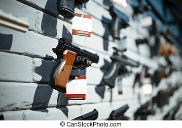 showcase , closeup , κανέναs , πιστόλια , κατάστημα , όπλο