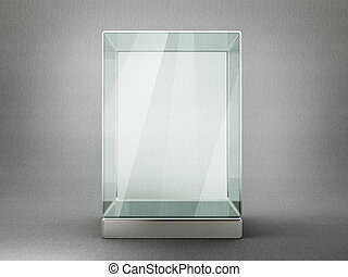 showcase - glass showcase isolated on a grey background. 3d...