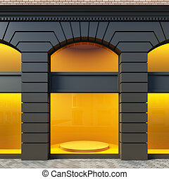 Showcase in classical style. - A 3D illustration blank...