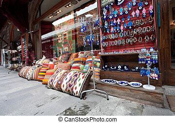 Showcase of souvenir shop