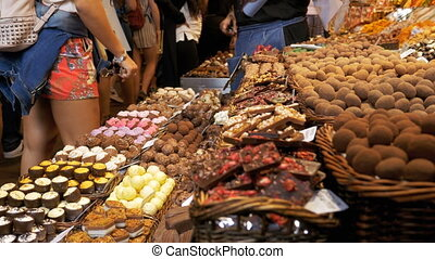 Showcase of Sweets with Various Assorted Chocolate Candy in...