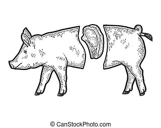 Showcase of the meat department. Pig carcass split, steak. ...