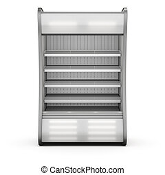 Showcase refrigeration Illuminated front view isolated on ...