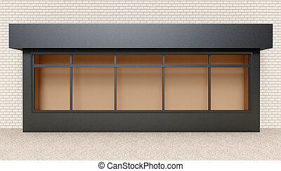 Showcase street store. 3D rendering