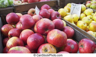 Showcase with Apples and Fruit in the Market. Trade