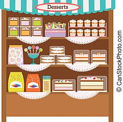 Showcase with desserts. Shop shelves with candy and sweets