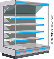 Showcase with empty shelves. vector