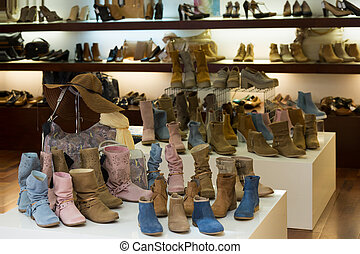 showcase with  female shoes at  shop