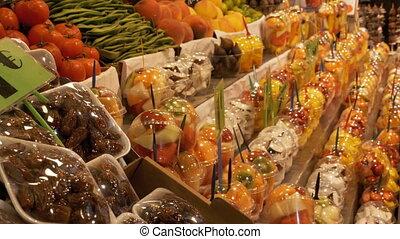 Showcase with Fruits at a Market in La Boqueria. Barcelona. Spain.