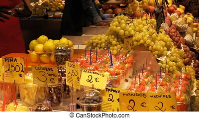 Showcase with Fruits at a Market in La Boqueria. Barcelona....