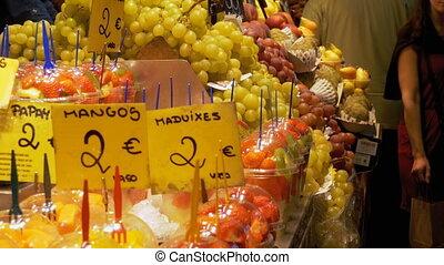 Showcase with Fruits at a Market in La Boqueria. Barcelona....
