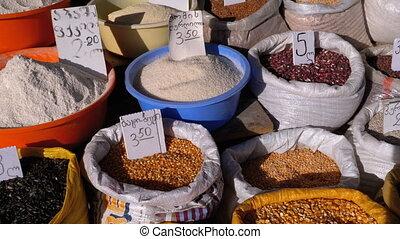 Showcase with Grain in Sacks On The Market In Georgia....