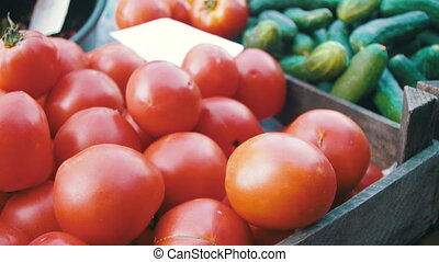 Showcase with Tomatoes and Vegetables in the Grocery Market. Trade
