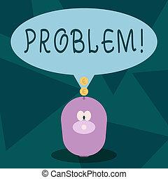 showcasing, être, business, résolu, photo, projection, écriture, note, problem., complication., besoin, situation, ennui, difficile
