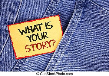 showcasing, メモ, 何か, ビジネス, storytelling, 個人的, 写真, 提示, question., ジーンズ, 物語, 付せん, を過ぎて, バックグラウンド。, 書かれた, ペーパー, 経験, 言うこと, 執筆, あなたの